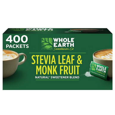 Whole Earth Stevia Leaf and Monk Fruit Zero Calorie Sweetener, 400 Packets