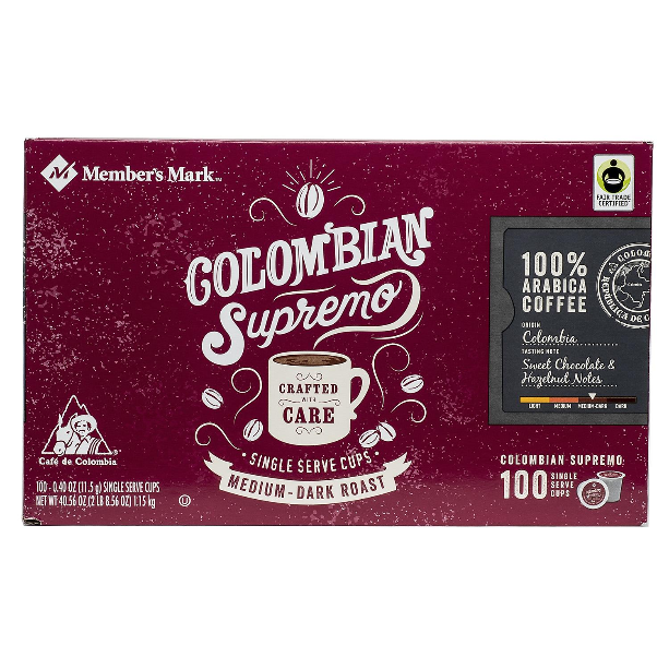 Member's Mark Colombian Supremo Coffee Single Serve K-Cup Coffee Pods, 100 ct. - Whole And Natural
