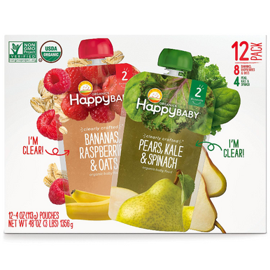 Happy Baby Clearly Crafted Multi-Pack Organic Baby Food, 4 oz. (12 pack)