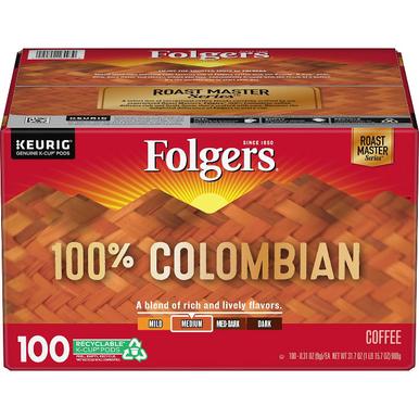 Folgers 100% Colombian Roast Coffee K-Cups, 100 ct.