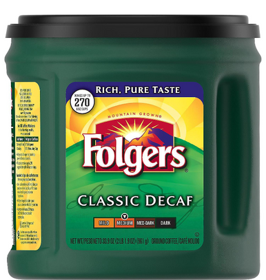 Folgers Decaffeinated Classic Roast Ground Coffee, 33.9 oz.