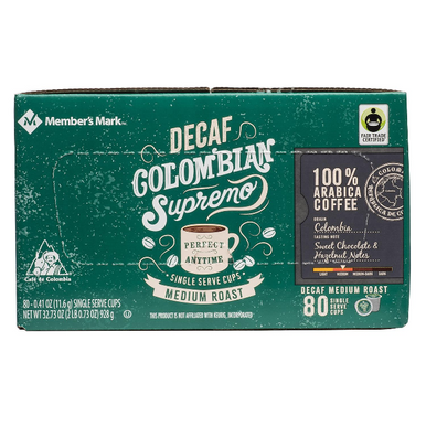 Member's Mark Decaffeinated Colombian Supremo Coffee Single Serve K-Cup Coffee Pods, 80 ct.