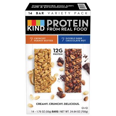 Kind Protein Bar Variety Pack Crunchy Peanut Butter bars Double Dark Chocolate Nut bars
