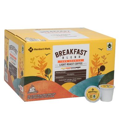 Member's Mark Breakfast Blend Coffee Single Serve K-Cup Coffee Pods, 100 ct.