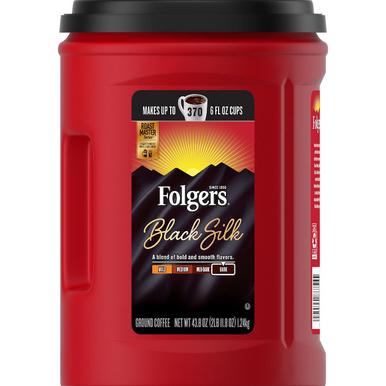 Folgers Black Silk Dark Roast Coffee, 43.8 oz.