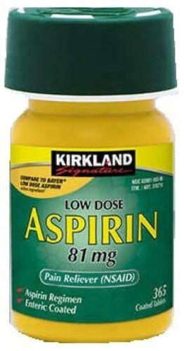Kirkland Aspirin Low Dose 81 mg., 365 Enteric Coated Tablets