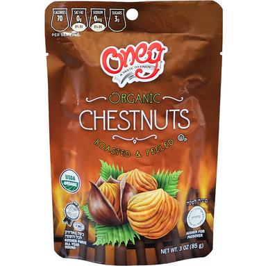 Oneg Organic Whole Chestnut Roasted and Peeled Chestnuts Kosher for Passover, 3 oz