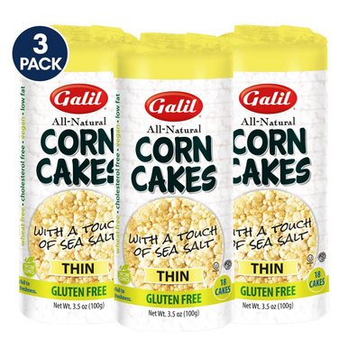Galil Corn Cakes Thin Kosher for Passover, 3.1 oz. (3-Pack)