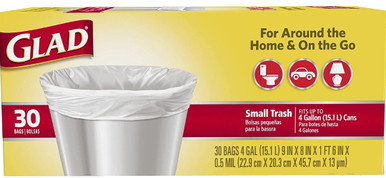 Glad Small White Trash Bag 4 Gallon - 30 Count pack of 1