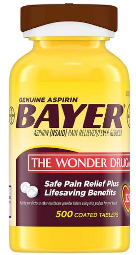 Genuine Bayer 325 mg. Aspirin, 500 Coated Tablets