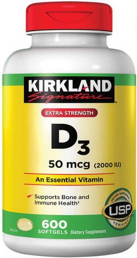 Kirkland Signature Extra Strength D3 50 mcg., 600 Softgels