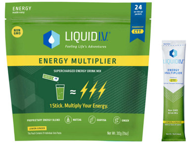 Liquid I.V. Energy Multiplier, 24 Individual Serving Stick Packs in Resealable Pouch