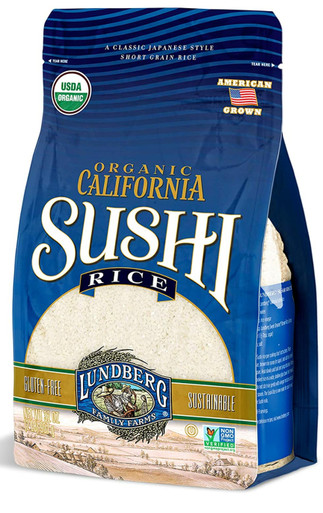 Lundberg Family Farms Organic California Sushi Rice, Japanese Style Short Grain Rice, Perfectly Sticky, Pantry Staple, Non-GMO, Gluten-Free, USDA Certified Organic, Vegan, Kosher