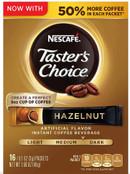 Nescafe Taster's Choice Hazelnut Instant Coffee Singles 16 Count