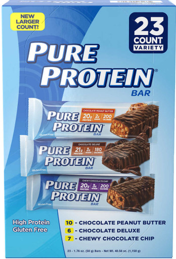 Pure Protein Bars, Variety Pack, 1.76 oz, 23-count