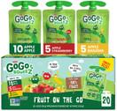 GoGo squeeZ Fruit on the Go Variety Pack, Apple Apple, Apple Banana, & Apple Strawberry, 3.2 oz. (20 Pouches) - Tasty Kids Applesauce Snacks, Gluten Free Snacks, Nut & Dairy Free, Vegan