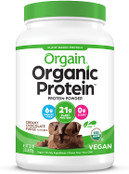 Orgain Organic Plant Based Protein Powder, Creamy Chocolate Fudge, Vegan, Low Net Carbs, Non Dairy, Gluten Free, No Sugar Added, Soy Free, Kosher, Non-GMO, 2.03 Lb (Packaging May Vary)