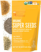 Better Body Foods Organic Superfood Super Seeds, Chia Flaxseed & Hemp, Blend of Organic Chia Seeds Organic Milled Flax Seed Organic Hulled Hemp Seeds, Add to Smoothies Shakes & More, 16 oz