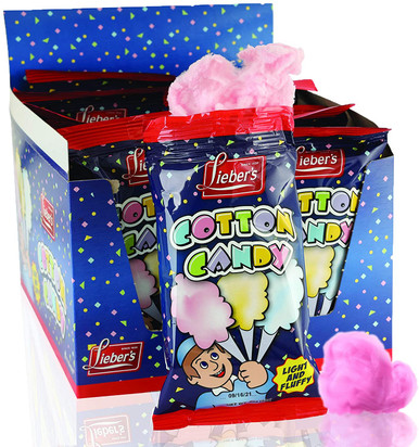 Lieber's Cotton Candy, Light & Fluffy Vintage Candy, Blue & Red Carnival, holloween, Birthday Party Favors Treats Supplies for Kids, Kosher, 0.8 Ounce Bag (Pack of 12)