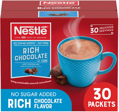 Nestle Hot Chocolate Packets, Hot Cocoa Mix, No Sugar Added and Fat Free, 30 Count