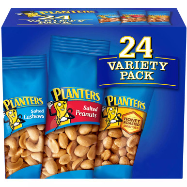 Planters Nuts Cashews and Peanuts Variety Pack, 24 Count