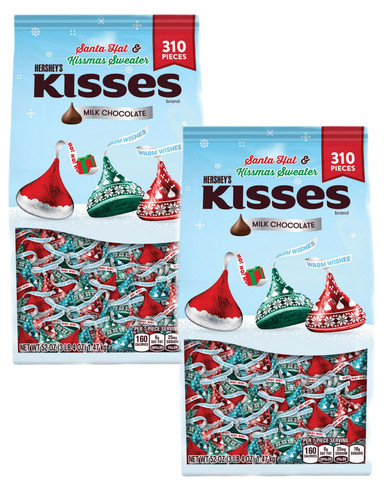 Hershey's Kisses Milk Chocolate Holiday Candy Bag, 52 oz (Pack of 2)