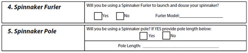 spinnaker fuler and pole measurements