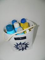 Sunscreen bucket totes can hold up to 8 bottles of sunscreen! Perfect for pool, patio, and boat. Makes a great gift.