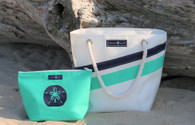 REGATTA STRIPE ~ ZIPPERED SAILCLOTH TOTE