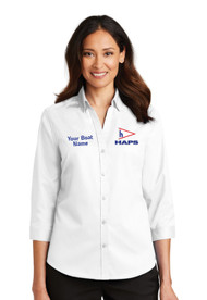 HAP-L665 Ladies 3/4 Sleeve  SuperPro Twill Shirt