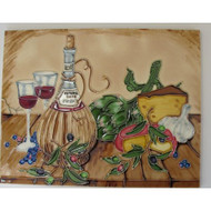 Wall Decor 11 X 14 Set Of Two Wine Glasses And Bottle Of Wine Ceramic - EE688052