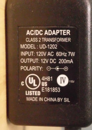 Sil AC To DC Adapter UD-1202 12V 7W Wall Power Charger - EE707638