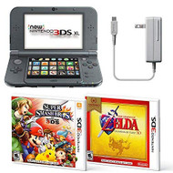 Black Nintendo 3DS XL Bundle Nintendo AC Adapter With Smash Bros Zelda - ZZ710688