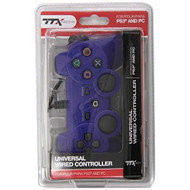 TTX Tech Wired USB Controller Compatible With PC Blue For PlayStation  - EE717957