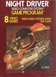 2600 Game Cartridge Night Driver For Atari Vintage - EE740574