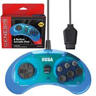 Retro-Bit Official Sega Genesis Controller 6-BUTTON Arcade Pad Clear - EE744064