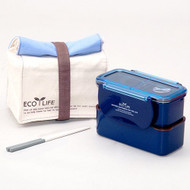 Lock & Lock BPA Free Mini Lunch Box Chopsticks And Cotton Bag Blue - EE535960