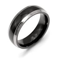 Chisel Two-Tone Polished Titanium Ring 7.0 MM With Wood Box Size 7.0 2 - EE539562