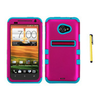 Titanium Solid Hard Plastic Snap On Cover Fits HTC EVO 4G LTE Hot Pink - RR511455