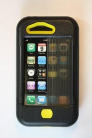 iPhone 3 Case Black W/ Yellow Accents Cover Fitted - EE521655
