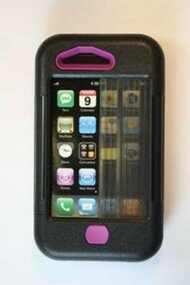 iPhone 3 Case Black W/ Purple Accents Cover Fitted - EE521645