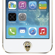 Agent 18 Apple Home Button Charm Gold Skull Screen Protector  - EE562728