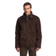 Perry Ellis Portfolio Jacket Coat Dark Brown Faux Shearling Suede Coat - EE536569