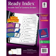 Avery Ready Index Table Of Contents Dividers Eight Tab 1-8 Black/White - EE529073