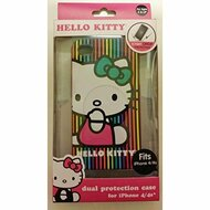 Hello Kitty iPhone 4/4S Lines Case Pink Cover Multi-Color Fitted HKVL - EE532574