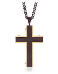 Blackjack Mens Black And Gold Plated Cross Pendant With 24 Inch Black - EE653908