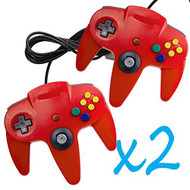 2 PCS Long Controller Game System For Nintendo 64 Red For N64 - ZZ660520