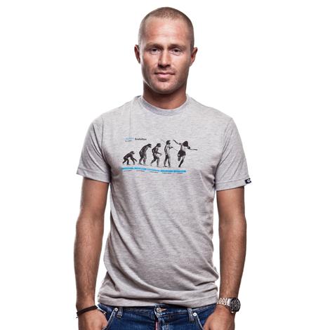 Human Evolution T-Shirt // Grey Mêlée 100% cotton