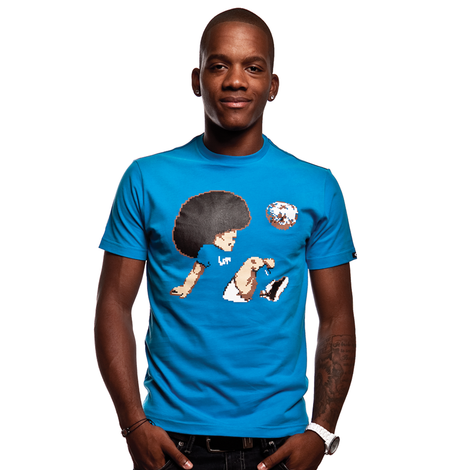 Funky Football T-Shirt // Aqua Blue 100% cotton
