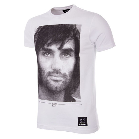 Football Fashion - George Best Portrait T-Shirt - White - COPA 6756
